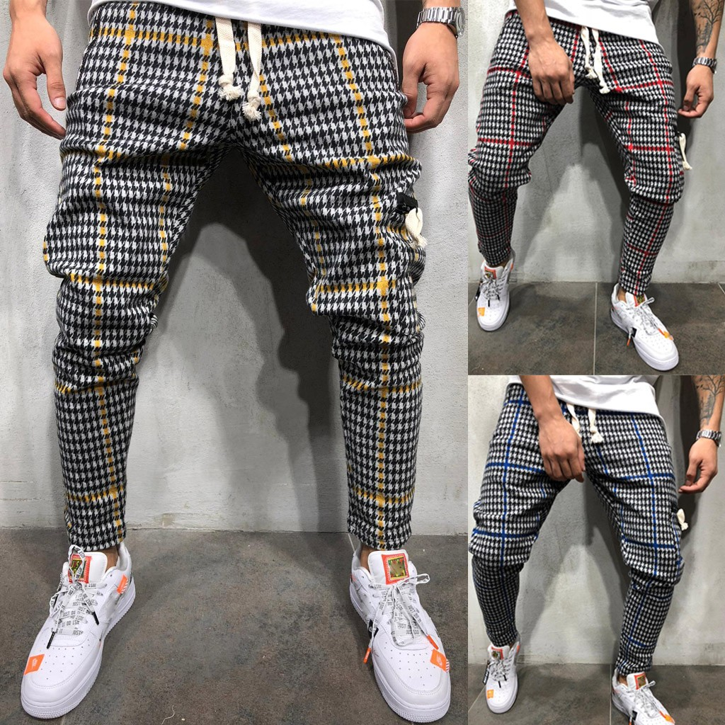 2019 Men's Casual Line Long Pant Sport Straight Hip Hop Slim Fit Trousers Jeans Pantalones Hombre Streetwear Joggers Sweatpants