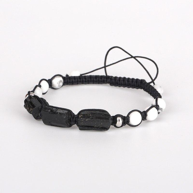 Natural Rough Black Tourmaline Healing Stone Bead White Turquoises Howlite  Nylon Rope Adjustable Macrame Energy Bracelet 2a0ef7fb03dc