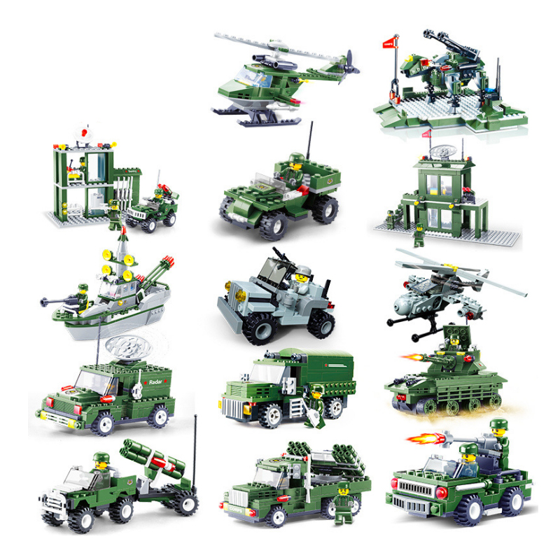 Military Marine <font><b>Tank</b></font> Battleship Spelling Diy ModelAssembly Spell Plug Building Blocks Children Education Gift Toy image