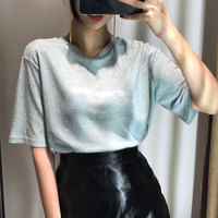 2017 spring and summer o neck loose short sleeve t shirt female flash light t shirt female brief top