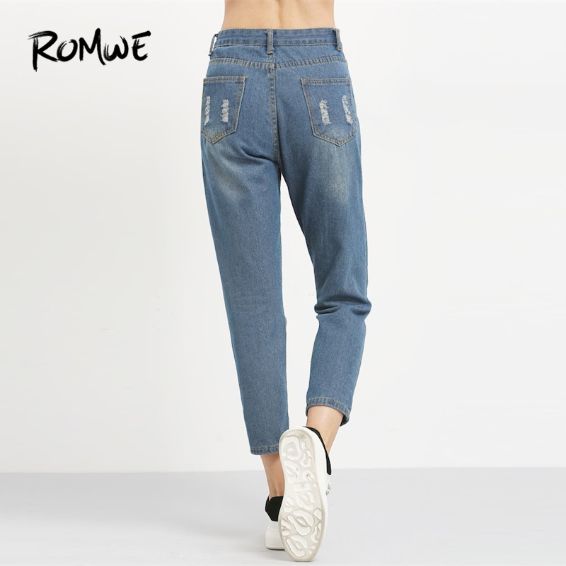 4eec1ef387aa Blue Ripped Distressed Ankle Denim Jeans Women Casual Summer Autumn ...