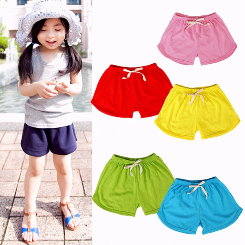 New Summer Boys Girls Casual Cotton   Shorts   Candy Color Beach Wear Solid Color Loose Bottom   Short   Trousers