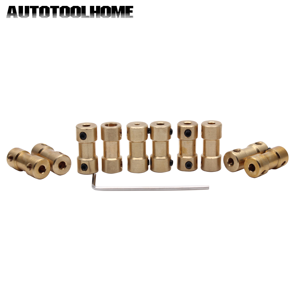 AUTOTOOLHOME 10PC 2 3 3.17 4 5 to 3.17 mm Brass Shaft Motor Flexible Coupling Coupler Length 20mm 5 Size Hobby Hand Drill Tool motor shaft joint coupling brass coupler shank connector transmission 3 17mm to 2 3 4 5mm rc airplane car model hobby power tool