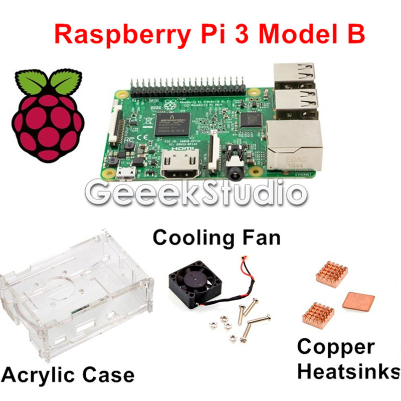 2016 Raspberry Pi 3 Model B Starter Kit with Acrylic Case Enclosure Shell + Cooling Fan + Copper Heatsink original 1gb ras pi 3 kit raspberry pi 3 model b board acrylic case cooling fan sic heat sink 5v2 5a power charger 2 4g keyboard