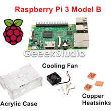 2017 New Raspberry Pi 3 Model B Starter Kit with Acrylic Case Enclosure Shell + Cooling Fan + Copper Heatsink