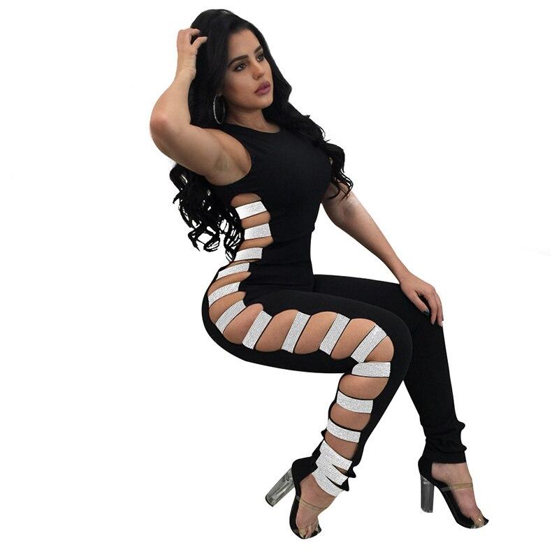 Dream Vine Single Sequins Lace Up Sexy Club Party Jumpsuit Back Zipper Cut Out Bodysuit Skinny Jumpsuits Rompers for Women