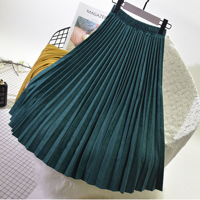 Two Layer Autumn Winter Women Suede Long Pleated Vintage Women Midi Skirt 1