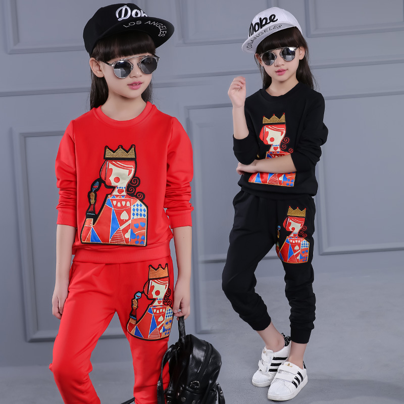 Children Girls clothing sets autumn teenage girls sport suit red print school kids clothes tracksuit 2pcs 4~13 T girls clothes autumn girls children clothing sets teenage girls sport hoodie pants suits girls apparel clothes 4 13y kids tracksuit clothes