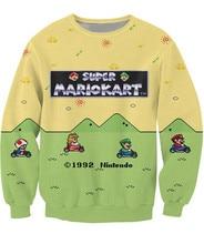 New Women font b Men b font cartoon Sweatshirt 3D Print letters Super Mario Kart font
