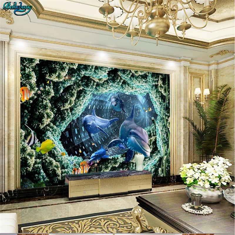 beibehang grandes fondos de pantalla d estreo acuario dolphin tv fondo de la pared del dormitorio sala de decor
