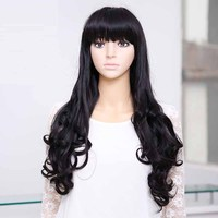 Cheap Long Curly Wavy Heat Resistant Cosplay Wig Women Natural Black Synthetic Wigs With Bangs Perucas