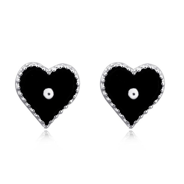 Trendy Black Heart Stud Earrings For Women Ear Jewelry Small Love Shape Fashion Korean Brinco