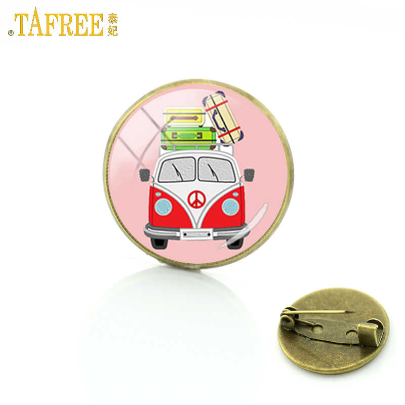 TAFREE antique bronze color Hippie Peace Sign Van Bus broches men women vintage fashion car jewelry badge brooch pins gift CT108
