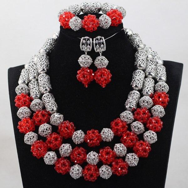 Unikalny kostium srebrny i czerwony kryształ koraliki naszyjnik zestaw biżuterii w stylu Vintage afrykańskie koraliki biżuteria ślubna zestaw darmowa wysyłka QW1033 w Zestawy biżuterii od Biżuteria i akcesoria na  Grupa 1
