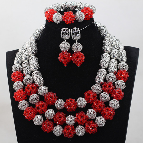 Unique Costume Silver and Red Crystal Beads Necklace Jewelry Set Vintage Wedding African Beads Jewelry Set Free Shipping QW1033