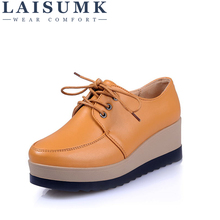 LAISUMK 2019 Spring Women Flat Platform Shoes Genuine Leather Lace Up Ladies Flats Creepers Moccasins Oxford Shoes For Woman все цены