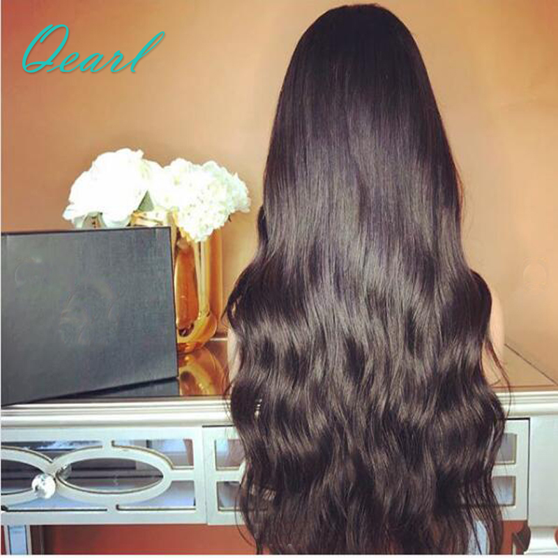 Qearl Hair 250% Thick Density Body Wave 360 Lace Frontal Wigs With Baby Hair Middle Parting Pre-Plucked Hairline Remy Hair Wigs