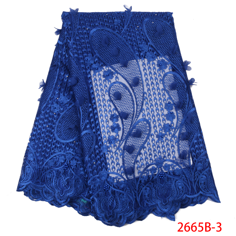 2019 New 3D Flower Lace Fabric African Tulle Mesh Lace Fabric High Quality French Embroiderey Laces With Stones Beads KS2665B-5