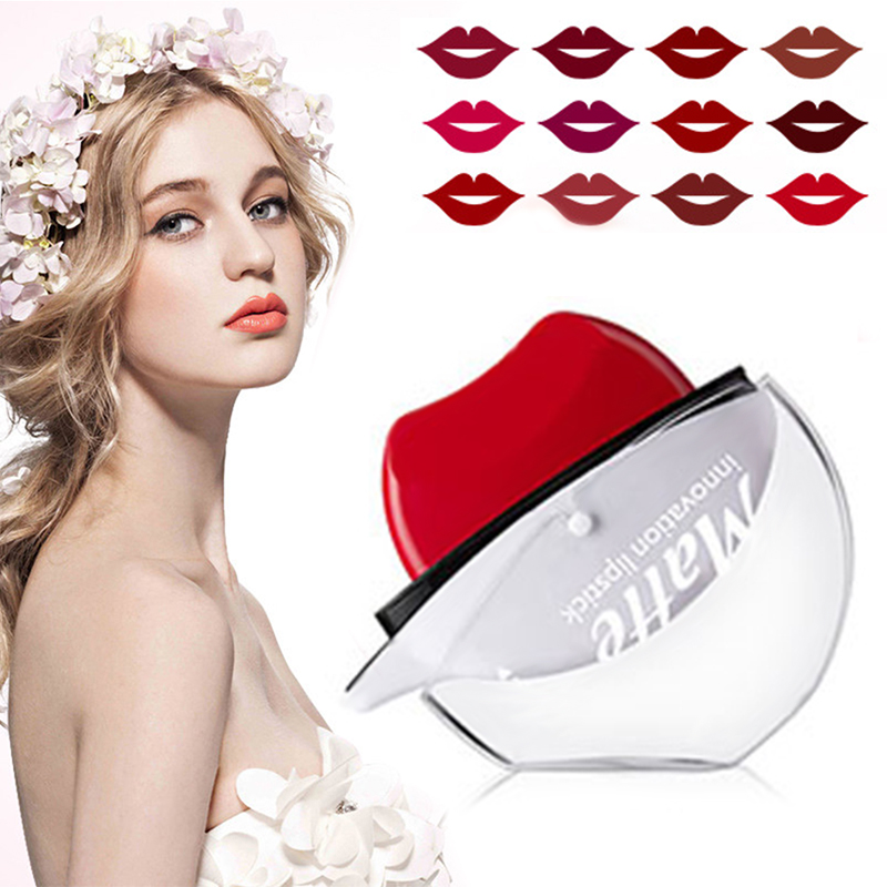 MENOW 12 Farben Lippenstift Samtig Matte Lippenstift Dauerhafte Wasserdicht Lip Gloss Sexy Red Lip Tint Make-Up TSLM2