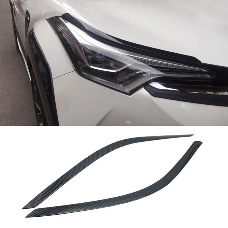 FOR TOYOTA CHR C HR 2016 2017 2018 Carbon Fiber Style Car Front Headlight Lamp Moulding Trim Auto Exterior Accessories