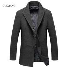 2017 new arrival style men boutique woolen coat business casual single button men's solid stand collar trench jacket size M-3XL