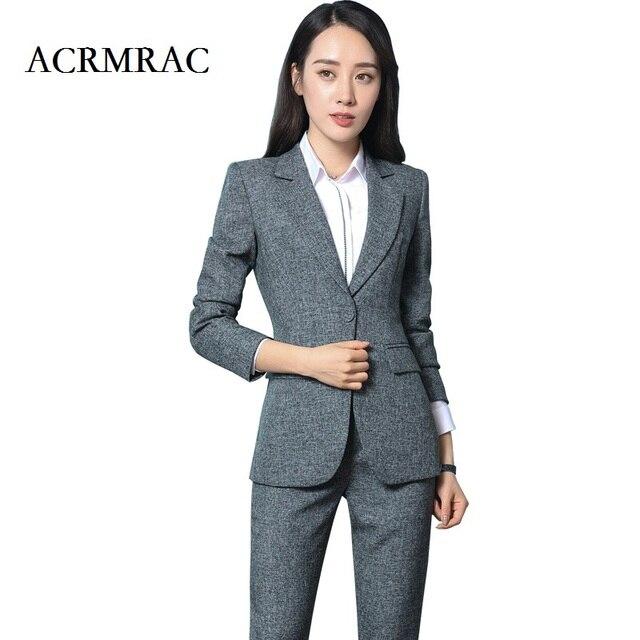 ACRMRAC Women Formal wear Suit Long sleeves Solid color Slim jacket pants  set Business OL Formal Pant Suits 73633f54cd