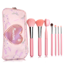 phantom 7pcs makeup brushes set pink animal and synthetic hair with cute bag foundation brush goat powder brush horse brush 7pcs makeup brushes set with striped bag