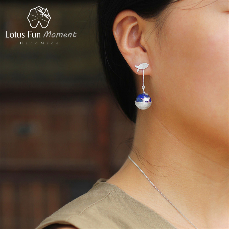 Lotus Fun Moment Real 925 Sterling Silver Natural Lapis Handmade Fashion Jewelry Cat's Dream Dangle Earrings for Women Brincos