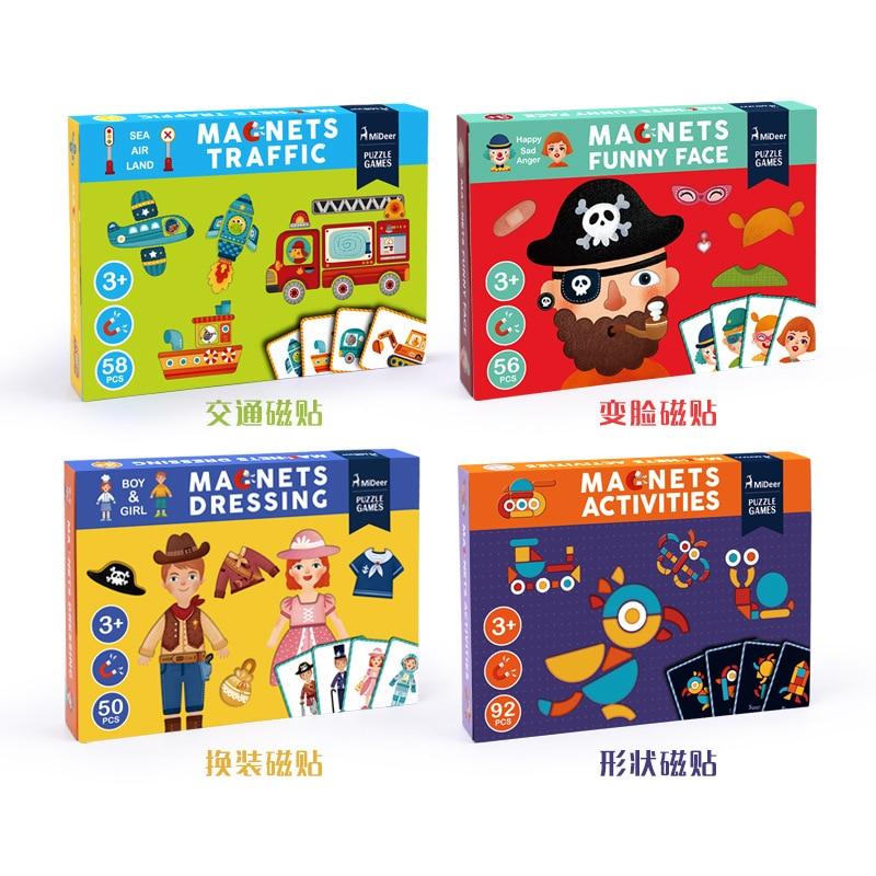 Jouets éducatifs en bois pour enfants aimant pansement jeu de Puzzles magnétiques autocollants réutilisables amusants pour enfants cadeau de noël