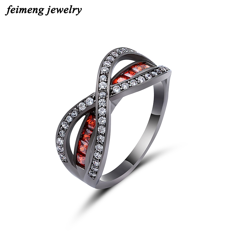 Light Red Grade Separat Cross Ring Fashion White & Black Gold Filled Jewelry Vintage Wedding Rings For Women Birthday Stone Gift
