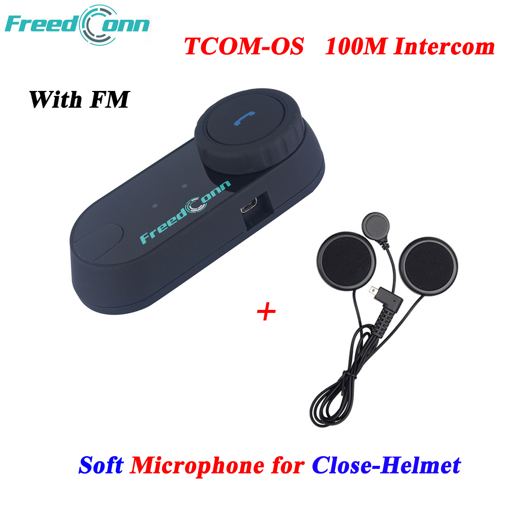 Freedconn TCOM OS 100m BT Bluetooth Motorcycle Helmet Intercom Interphone Headset with Soft Mic for Close