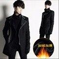 M-4XL NUEVOS Hombres moda delgado cremallera oblicua patchwork de cuero abrigo de lana medio-largo, además de terciopelo espesar trench marea ropa