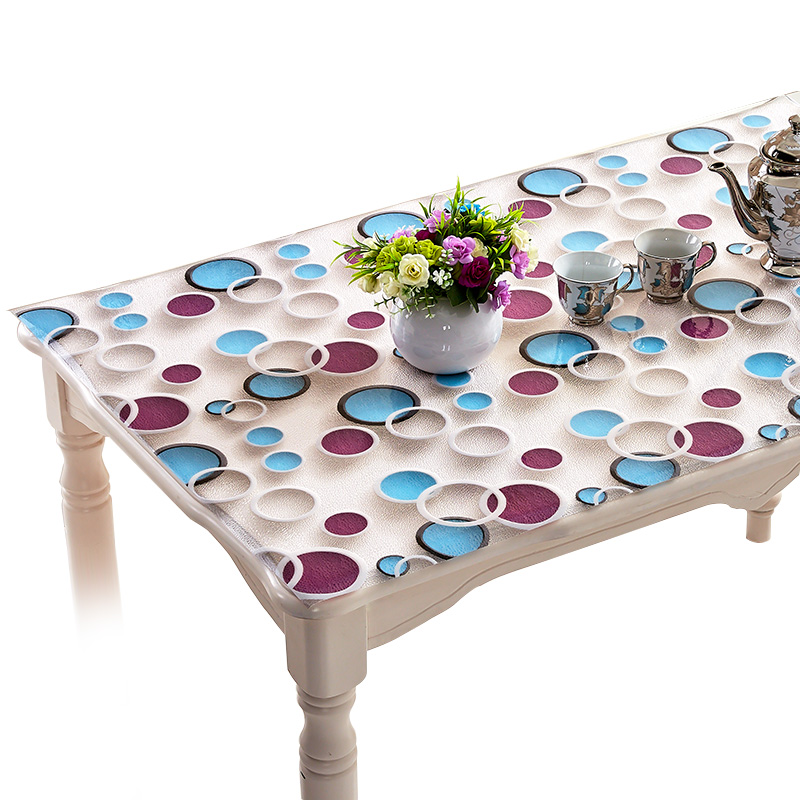 2018 3D pvc tablecloth waterproof oil-proof Coffee table tablecloth PVC soft glass Modern transparent crystal plate Table mats