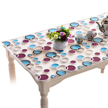 2017 3D  pvc tablecloth waterproof oil-proof Coffee table PVC soft glass Modern transparent crystal plate Table mats