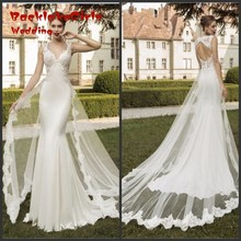 Sexy V Neck Backless Lace Mermaid Wedding Dresses 2017 Detachable Train Tulle Applique Vestido De Noiva Custom Made Bridal Gowns