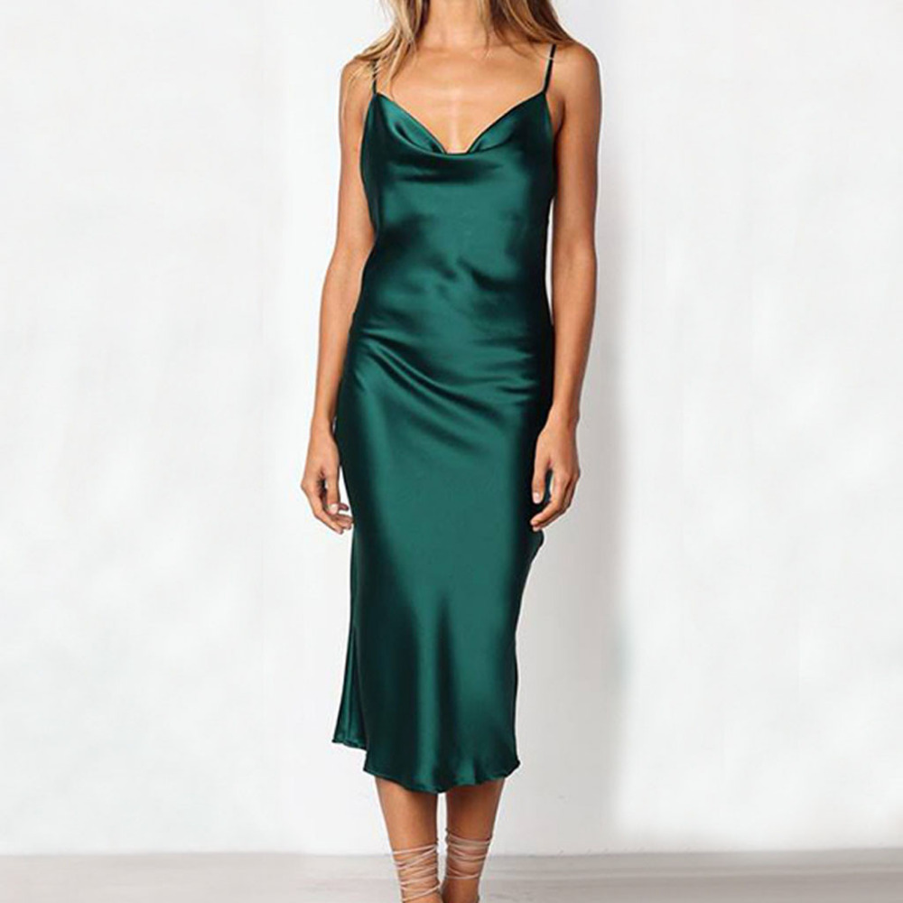 Sexy sling cetim vestidos sem mangas estilingue fora do ombro sem costas meados de bezerro magro vestido de noite vestidos de festa #15