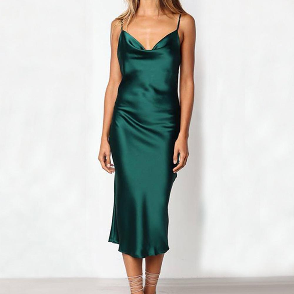 Women Sexy Sling Satin Dresses Sleeveless Sling Off Shoulder Backless Mid-Calf Slim Dress Nightdress Party Dresses Vestidos #15