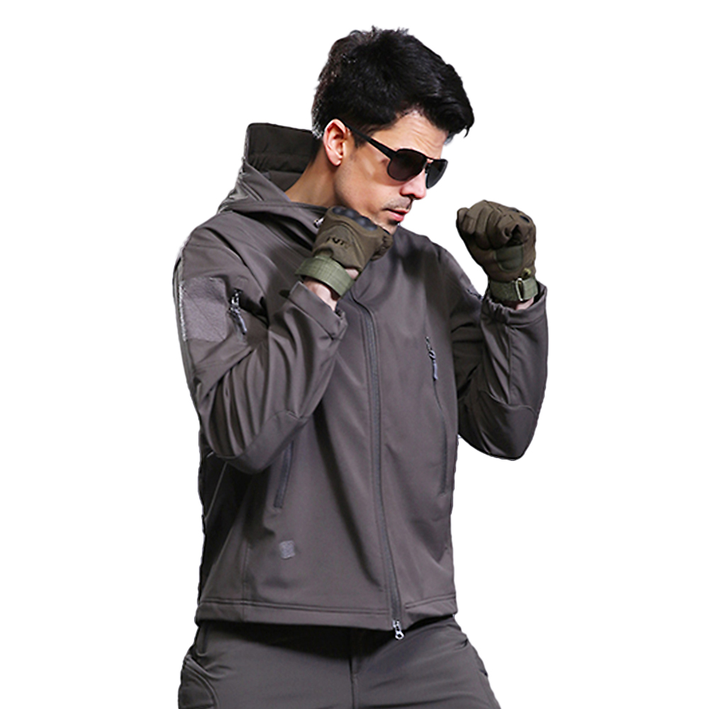 Fleece Jacket Climbing Outdoor Running Coat Hooded Sport Hiking Winter Windproof Camping