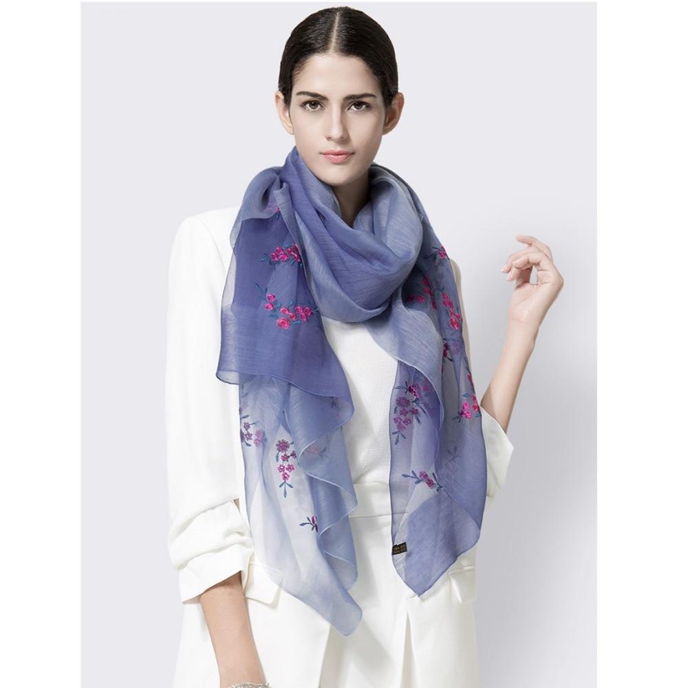 High quallity scarf Wraps women silk embroidery scarves woof silk scarf elegances women hijab beach blanket girl accessories