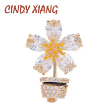 CINDY XIANG New Arrival Cubic Zirconia Flower Collar Pins For Women Copper Jewelry Wedding Accessories Fashion Gift Kids Brooch