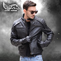 FREE SHIPPING 2017 New Men Black Stand Collar Leather Motorcycle Jacket Genuine Cowhide Short Slim Fit Men Winter Biker Coat