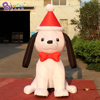Бесплатная доставка 2.1 м высокой надувной собаки с Рождественская шапка для вечерние украшения взорвать милая собака шар для дворе талисма