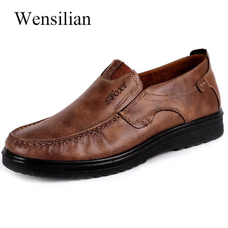 Fashion Men Casual Shoes Flats Autumn Summer Breathable Shoes Men Loafers Slip On Size 38-48 Brown Black Chaussure Homme 2017new men casual shoes elastic breathable massage flats shoes spring summer men s flats men sapatos chaussure homme masculinos