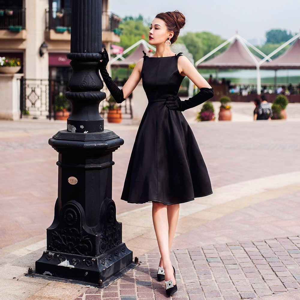64ca62fce2f Hot Sale Vintage Audrey Hepburn Black Wine Red 1950s Swing Dress Slash Neck  Retro Slim