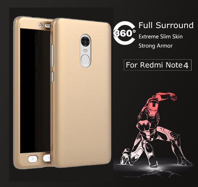 360 Degree Full Protective Case Hybrid PC Phone Case For Xiaomi Redmi Note 3 Note 4 Xiaomi 5s Coque Cover with Tempered Glass