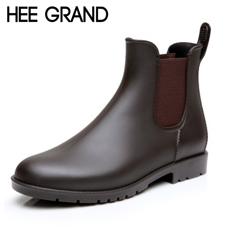 HEE GRAND Sexy Rain Boots 2017 Women Ankle Boots Casual Platform Shoes Woman Slip On Creepers Casual Flats Size 35-43 XWX4080 hee grand bling winter snow boots waterproof silver shoes woman platform women ankle boots slip on flats casual creepers xwx5503
