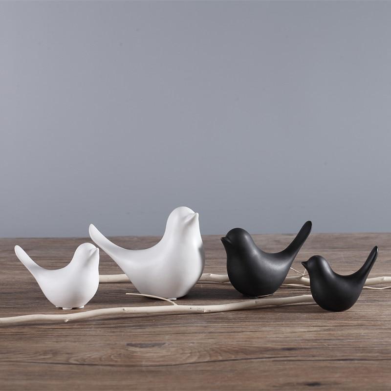 White Concise Ceramic Cute Bird Figurines Home Decor