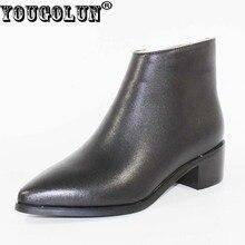 YOUGOLUN Зимние женские ботильоны с высотой до щиколотки черного цвета из натуральной кожи с узким носом на квадратном каблуке 4.5 cm ботинки обувь #D-007