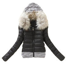 2016 Women Winter Coat Cotton Padded Jacket Short Knitted Hood Fur Collar Womens Winter Jackets and Coats RAW4212