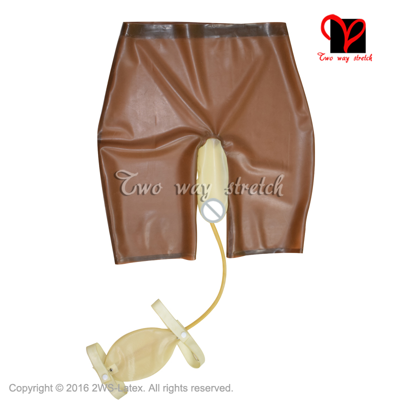 Sexy Latex ong leg boxer short with piss Collection Bag Rubber briefs  Underwear hotpants Underpants panty KZ-139